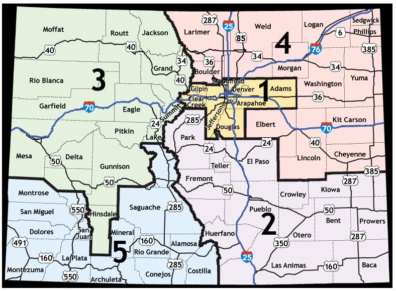CDOT Regional Boundaries Map